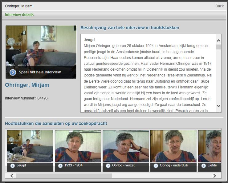 Screenshot van de interface: interview met Mirjam Ohringer